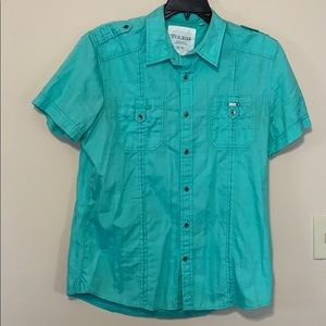 Guess men's button down teal green shirt xl